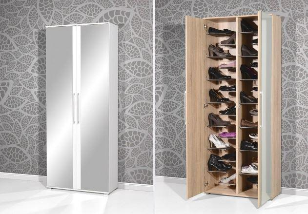 schuhschrank schuhregal schrank schuhe kommode nina eiche. Black Bedroom Furniture Sets. Home Design Ideas