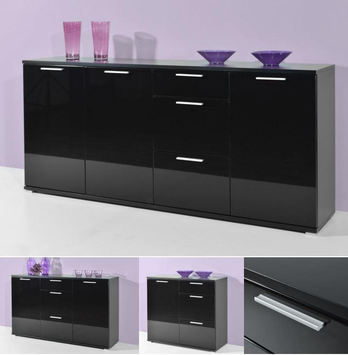 kommode carmen sideboard schrank lowboard regal schwarz. Black Bedroom Furniture Sets. Home Design Ideas