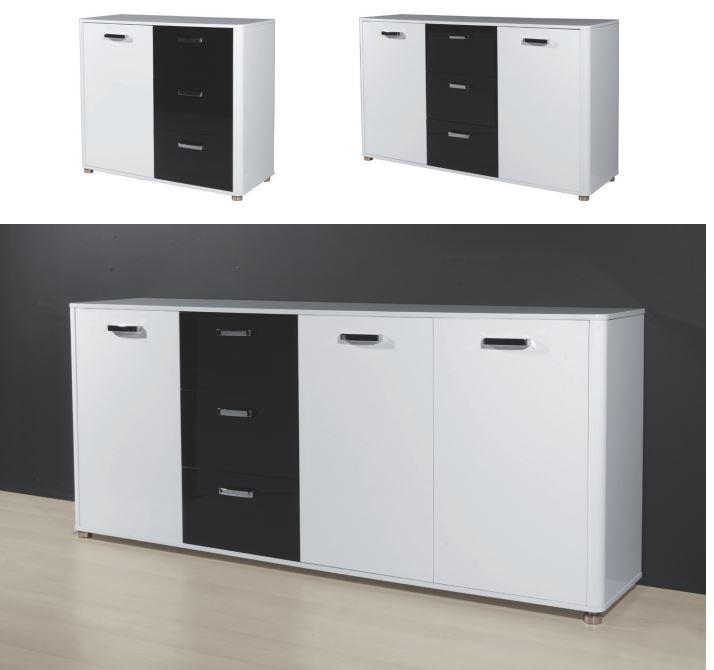 kommode sandra anrichte sideboard schrank wei schwarz. Black Bedroom Furniture Sets. Home Design Ideas