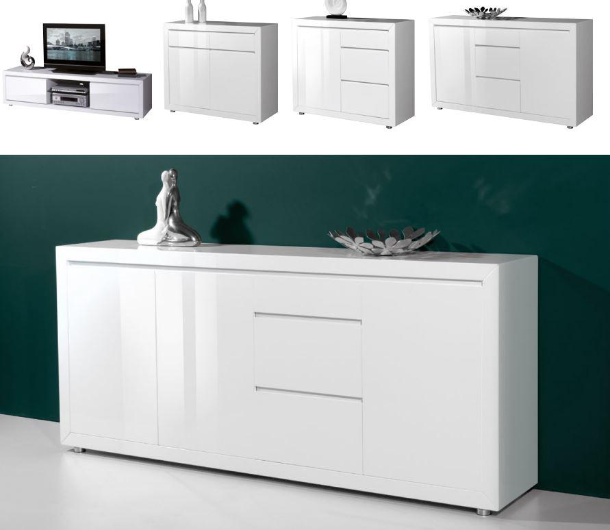 kommode pia sideboard schrank lowboard regal anrichte wei hochglanz. Black Bedroom Furniture Sets. Home Design Ideas
