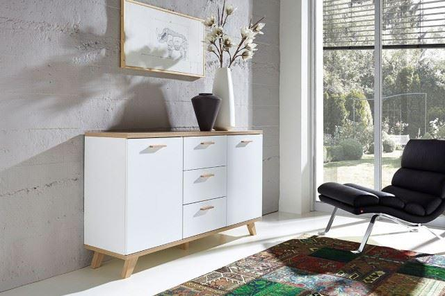 sideboard mandy t renschrank kommode schrank anrichte regal wei eiche sonoma ebay. Black Bedroom Furniture Sets. Home Design Ideas