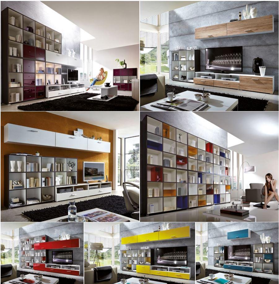 wohnwand 7 maxim wohnzimmer schrank b cherregal eching. Black Bedroom Furniture Sets. Home Design Ideas