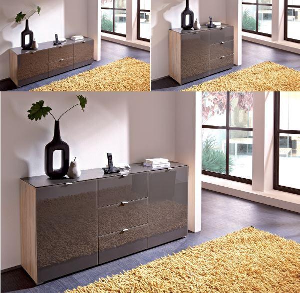 sideboard gabi kommode lowboard tv bank schrank sonoma eiche graphit hochglanz ebay. Black Bedroom Furniture Sets. Home Design Ideas