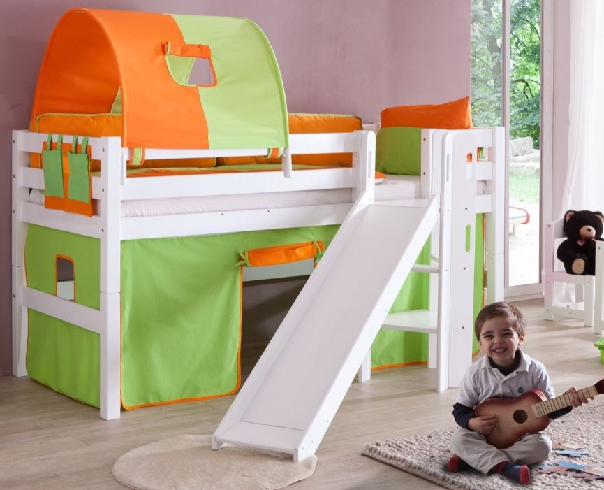 hochbett eliyas kinderbett mit rutsche spielbett bett wei stoffset gr n orange ebay. Black Bedroom Furniture Sets. Home Design Ideas