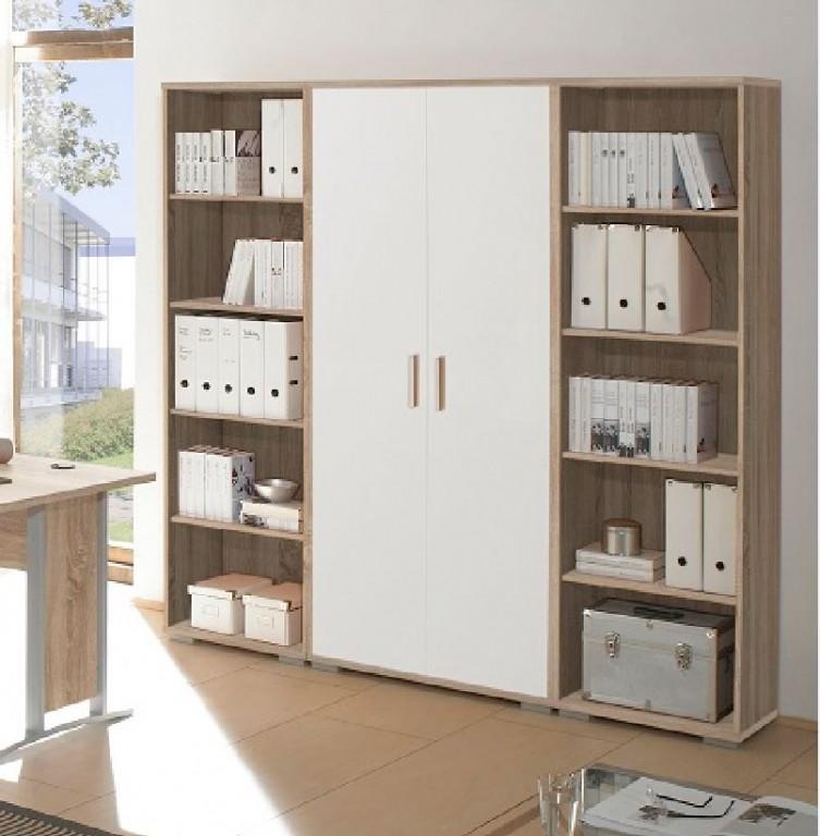 office line schrankwand 3 tlg 5oh homeoffice eiche sonoma front wei b ro stauraum b roschr nke. Black Bedroom Furniture Sets. Home Design Ideas