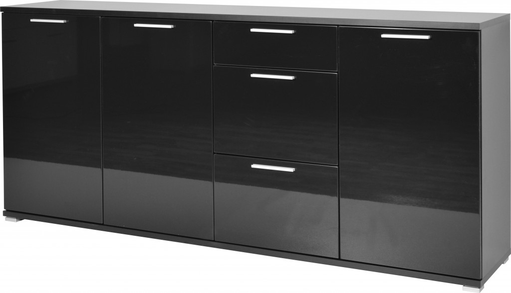 kommode carmen sideboard schrank lowboard regal schwarz hochglanz ebay. Black Bedroom Furniture Sets. Home Design Ideas