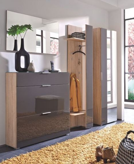 schuhschrank veronika schrank flur schuhe garderobe glasfront sonoma eiche ebay. Black Bedroom Furniture Sets. Home Design Ideas
