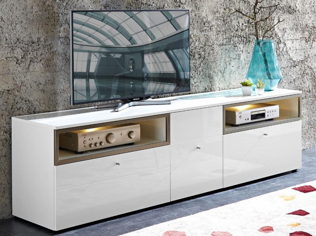 Lowboard TV-Möbel Kommode Wohnzimmer weiß ink. mit LED- Beleuchtung ...