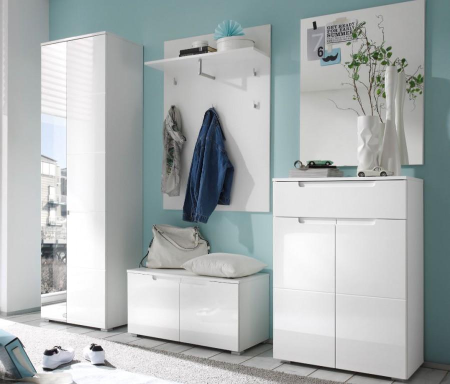 spice 5 tlg garderobe dielenm bel kompaktgarderobe hochglanz wei ebay. Black Bedroom Furniture Sets. Home Design Ideas