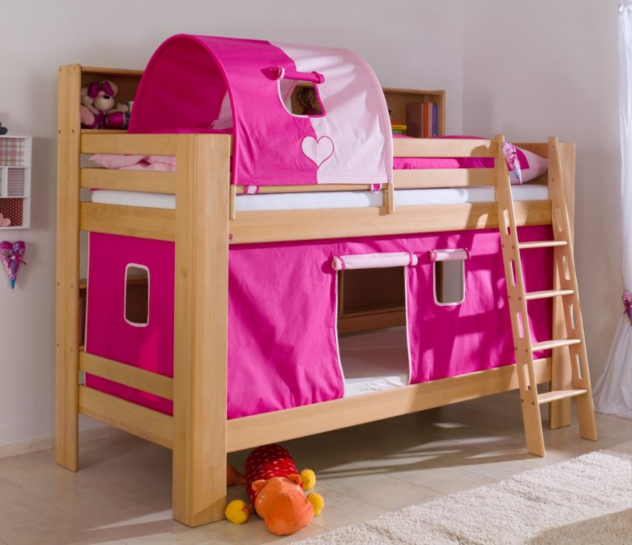 etagenbett jan kinderbett spielbett bett mit b cherregal buche herz pink rosa kids teens. Black Bedroom Furniture Sets. Home Design Ideas