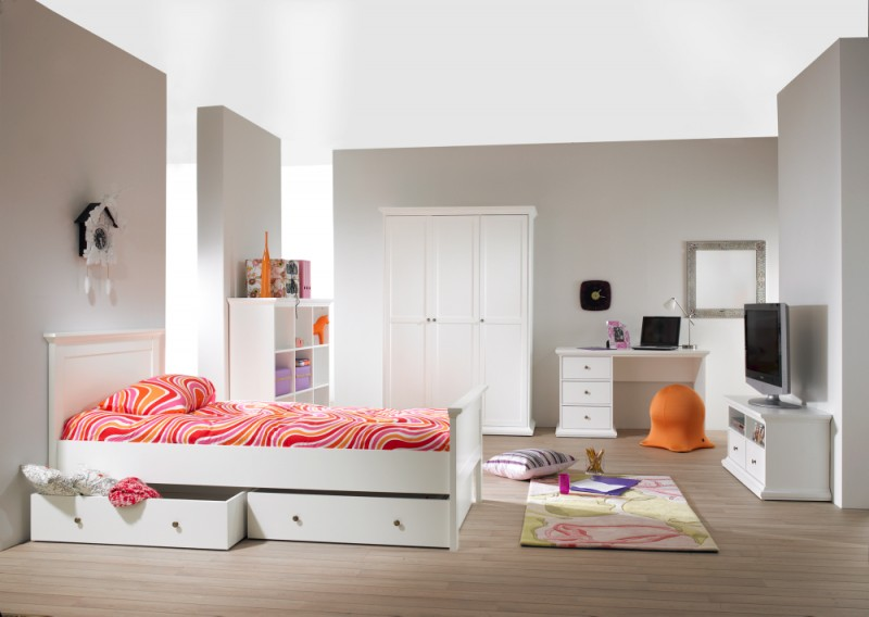 tvilum paris jugendzimmer komplett kinderzimmer kinder appartment wei kids teens komplettsets. Black Bedroom Furniture Sets. Home Design Ideas
