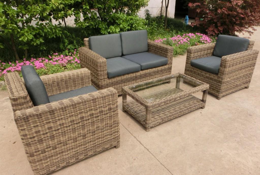 Hofer Prospekt Gartenmobel : tlg Garnitur Polyrattan Premont grau braun meliert Gartenmöbel NEU