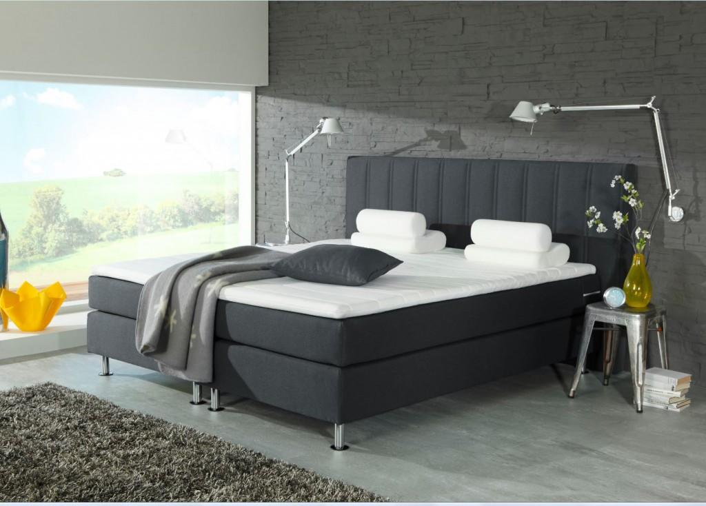 ohio boxspringbett 180 x 200 cm bett schlafzimmerbett anthrazit ebay. Black Bedroom Furniture Sets. Home Design Ideas
