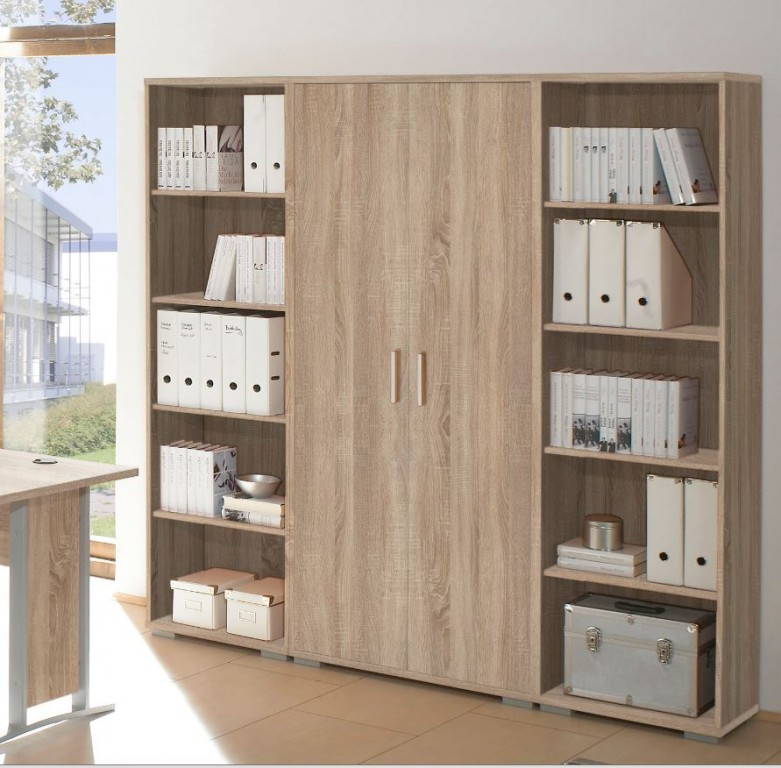 office line schrankwand 3 tlg 5oh homeoffice eiche sonoma b ro stauraum b roschr nke. Black Bedroom Furniture Sets. Home Design Ideas