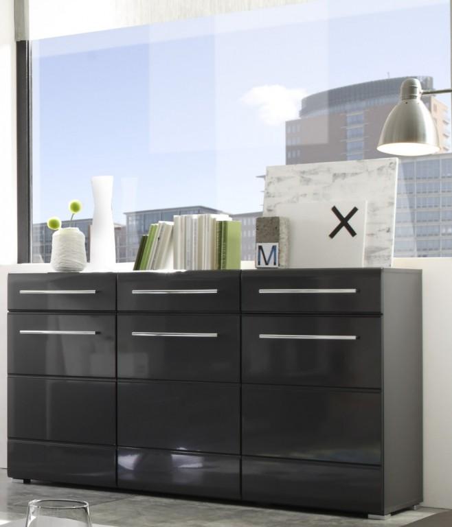 kommode chrome anrichte sideboard eiche san remo mdf wei ebay. Black Bedroom Furniture Sets. Home Design Ideas