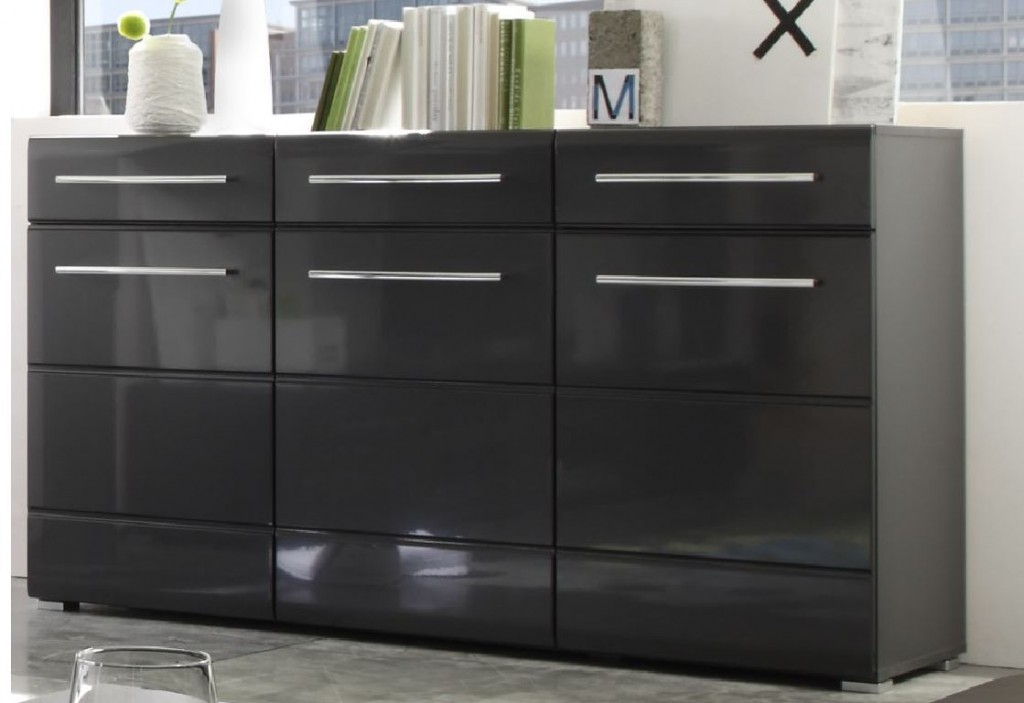 kommode chrome anrichte sideboard eiche mdf grau metallic hochglanz ebay. Black Bedroom Furniture Sets. Home Design Ideas