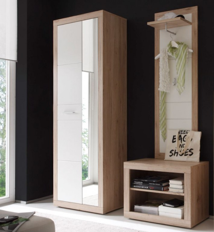3 tlg garderobe colorado dielenm bel kompaktgarderobe eiche sonoma ebay. Black Bedroom Furniture Sets. Home Design Ideas