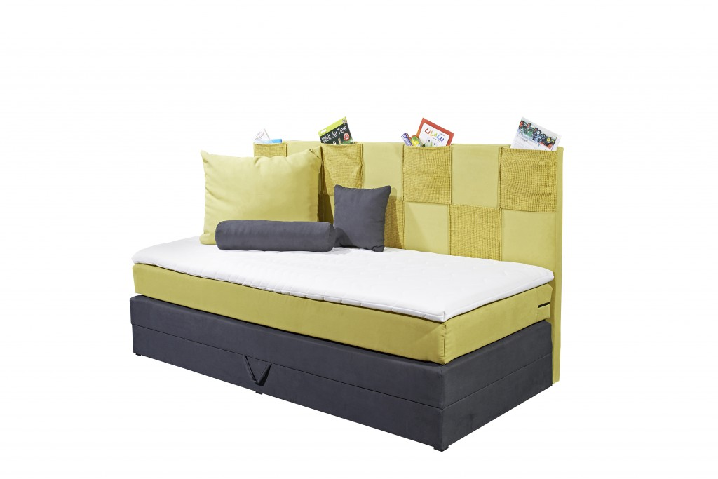 kids pocket boxspringbett mit bettkasten jugendbett 90x200 cm bett kinderbett sc ebay. Black Bedroom Furniture Sets. Home Design Ideas