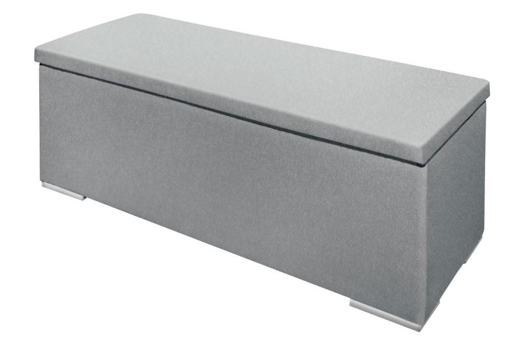 truhe sitzbank chest gepolstert sitztruhe aufbewahrungsbox grau ebay. Black Bedroom Furniture Sets. Home Design Ideas