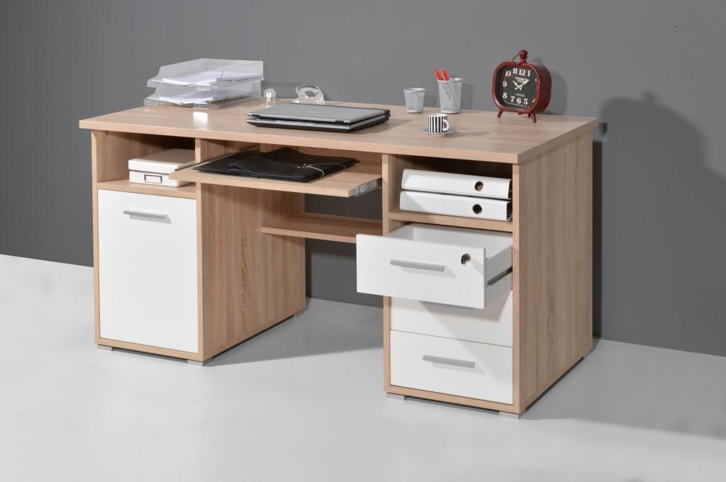 Bürotisch JAMIE Schreibtisch Computertisch Tisch Büro Tastaturauszug ...