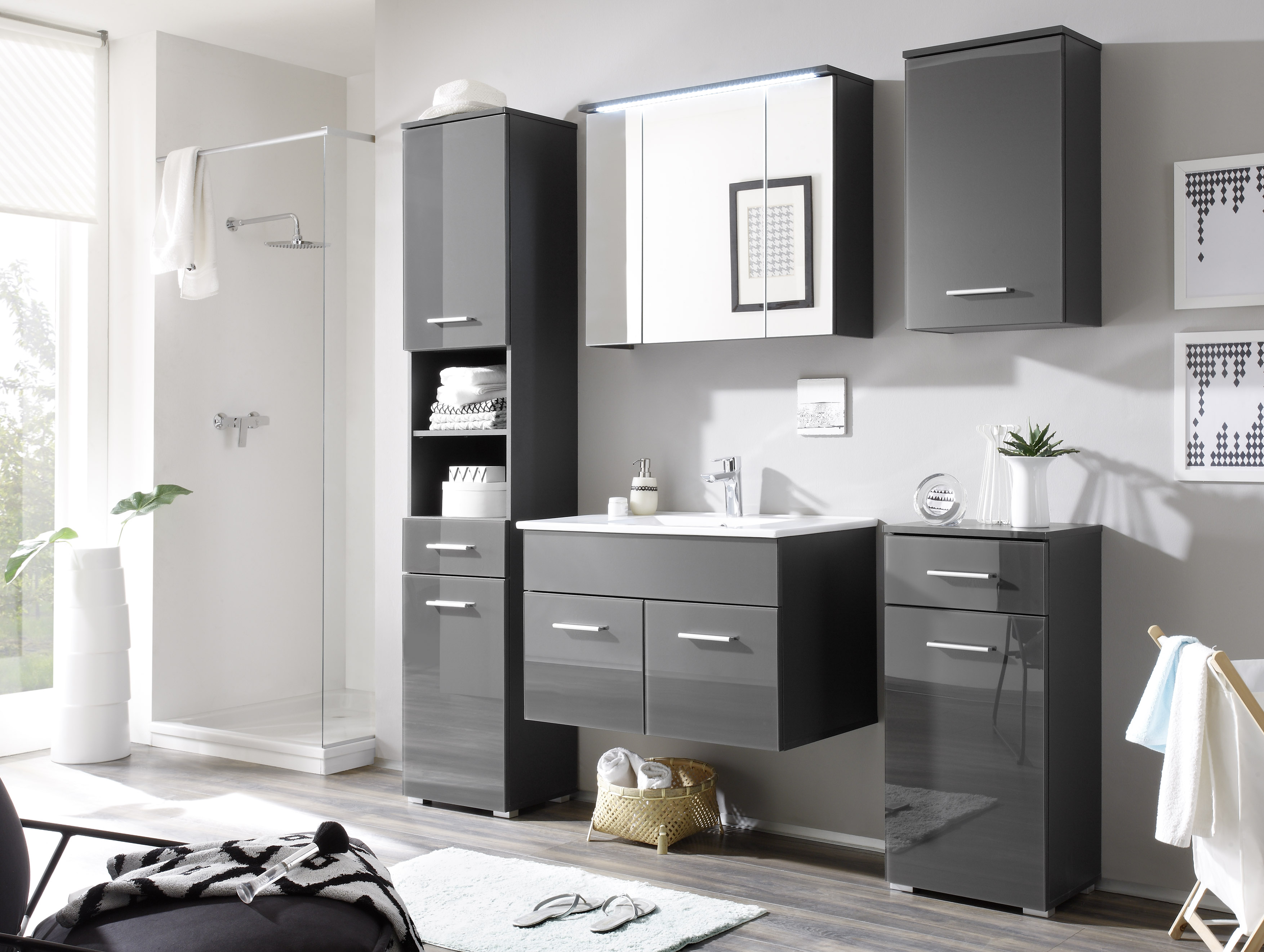 grey badezimmer set komplettset glas grau bad badezimmer komplettsets. Black Bedroom Furniture Sets. Home Design Ideas