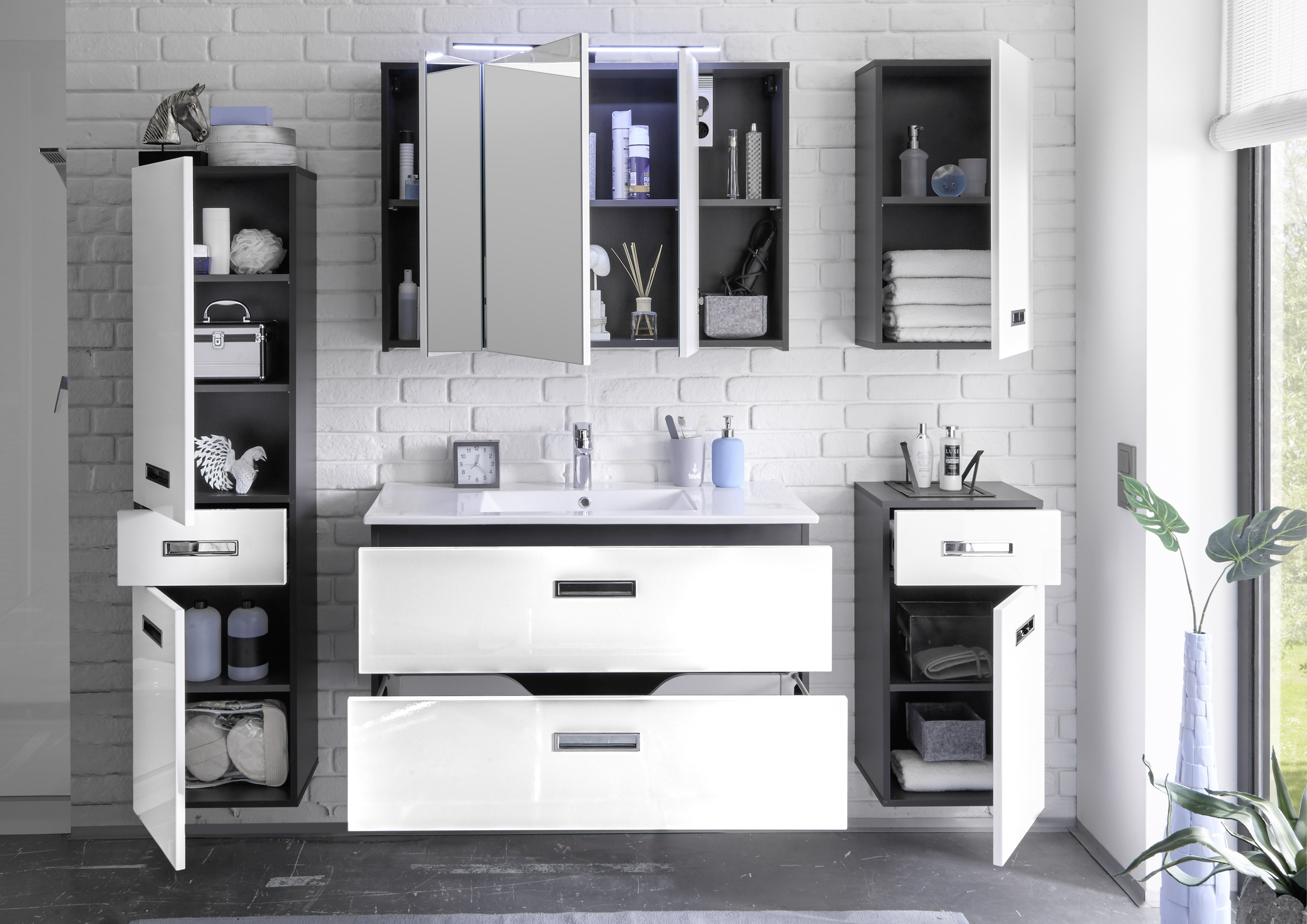 manhattan badezimmer set komplettset badmöbel badezimmermöbel grau, Wohnzimmer dekoo
