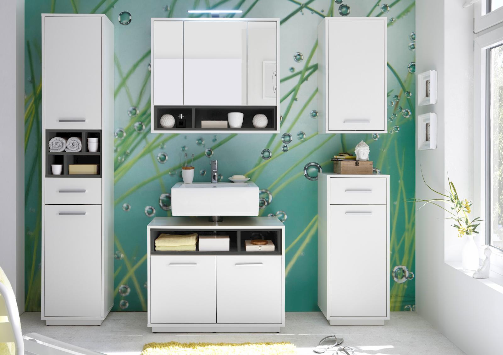 milano spiegelschrank inkl beleuchtung h ngeschrank badspiegel wei wildeiche bad spiegel. Black Bedroom Furniture Sets. Home Design Ideas