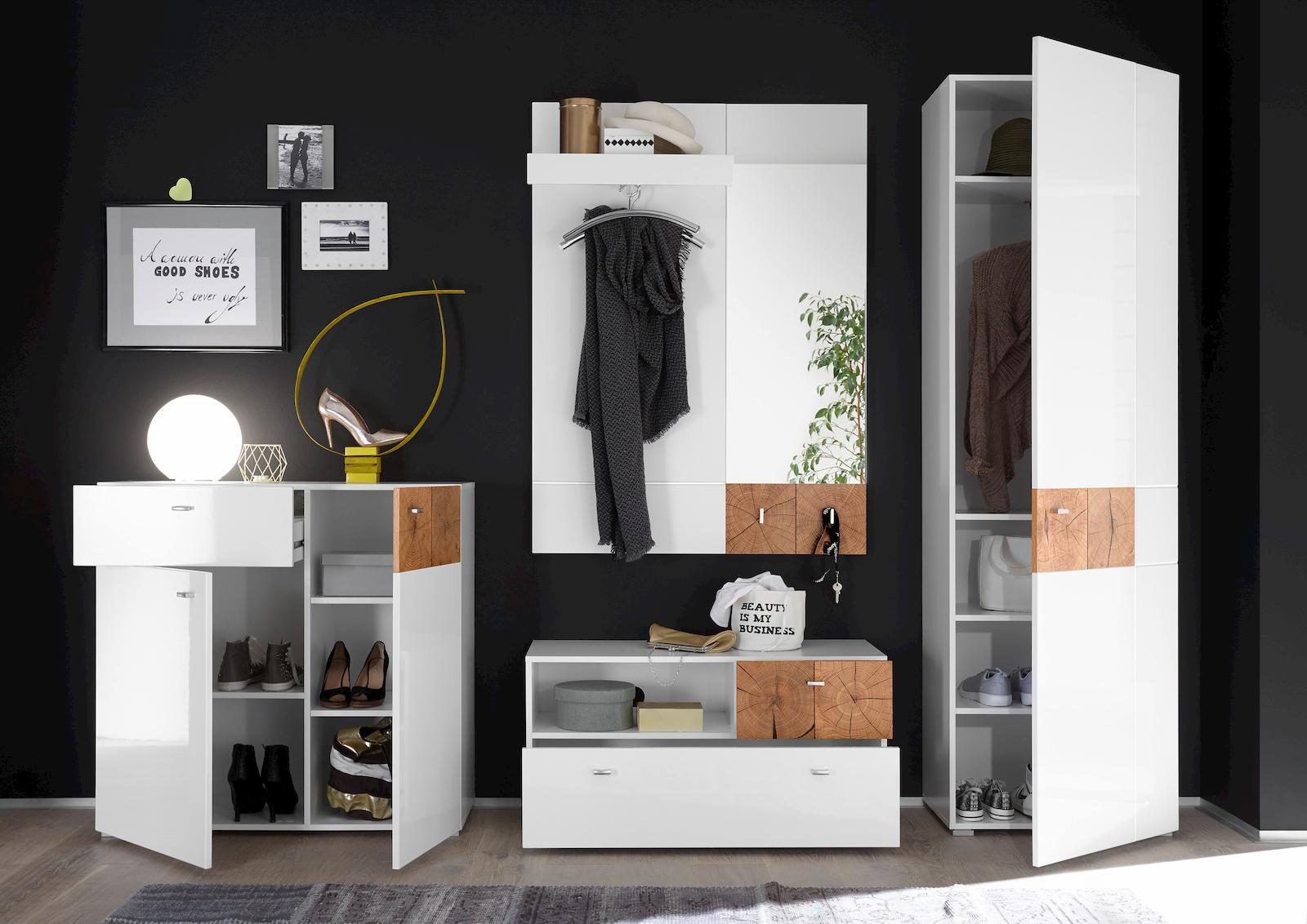 forest garderobenschrank garderobe dielenschrank flurgarderobe wei hochglanz ebay. Black Bedroom Furniture Sets. Home Design Ideas