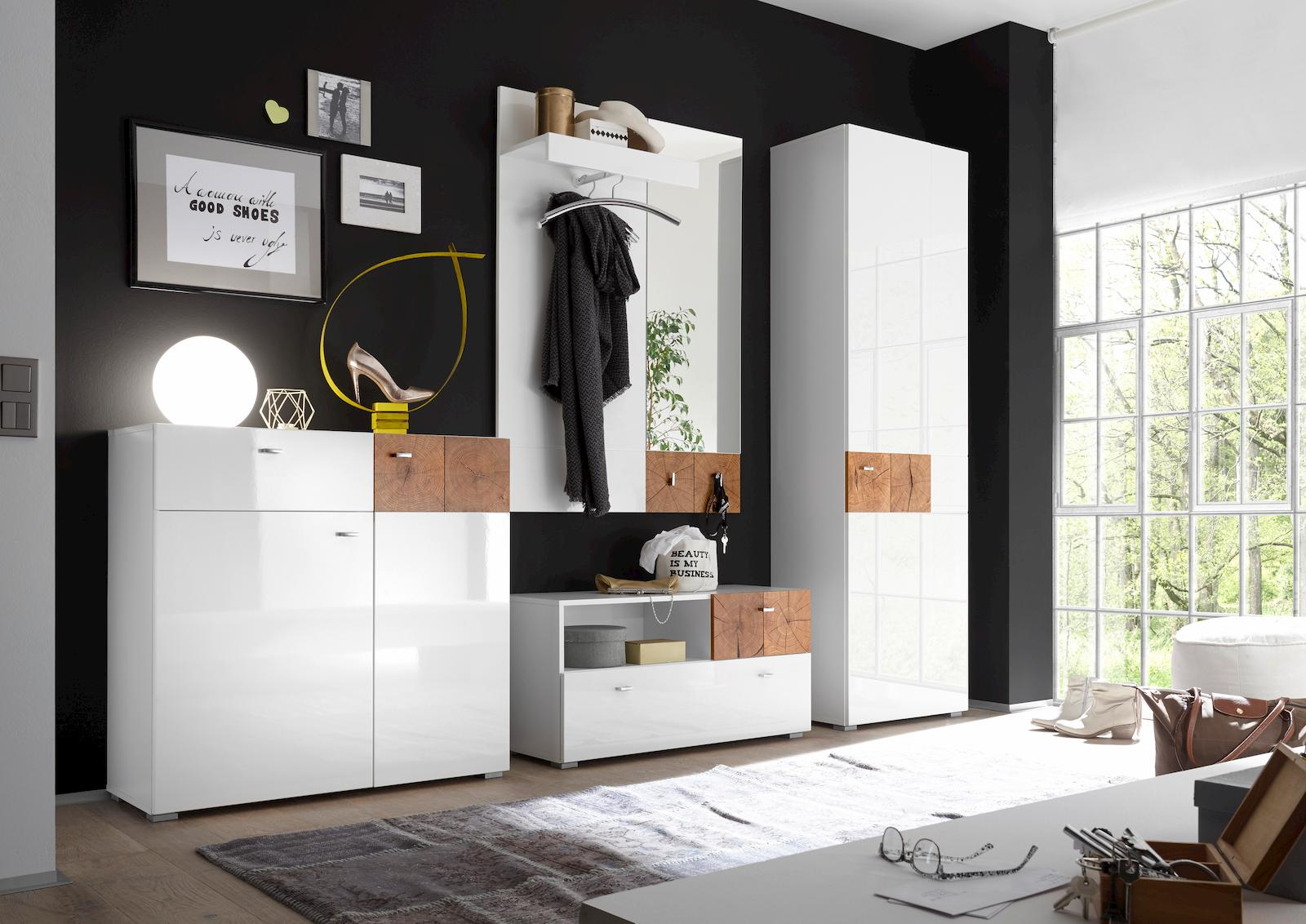 forest garderobenschrank garderobe dielenschrank flurgarderobe wei hochglanz ebay. Black Bedroom Furniture Sets. Home Design Ideas