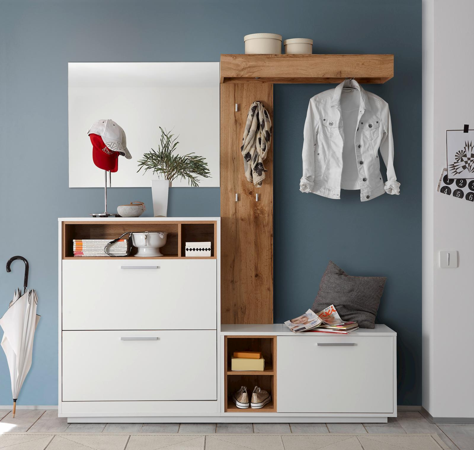 4 tlg milano garderobenkombination garderobe garderobeset. Black Bedroom Furniture Sets. Home Design Ideas