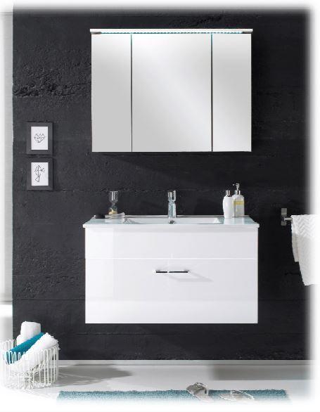 splash badezimmer komplettset waschtisch inkl becken spiegelschrank wei hochgl ebay. Black Bedroom Furniture Sets. Home Design Ideas