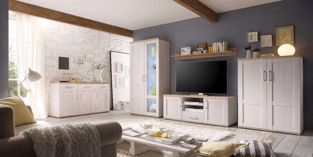 romance wohnwand anbauwand wohnzimmer wei ebay. Black Bedroom Furniture Sets. Home Design Ideas