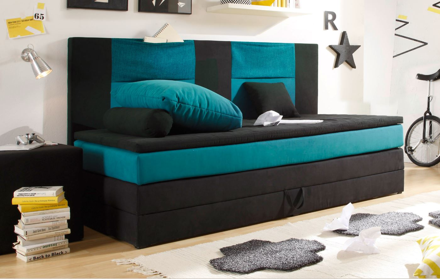 kids stripe boxspringbett mit bettkasten jugendbett 90x200. Black Bedroom Furniture Sets. Home Design Ideas