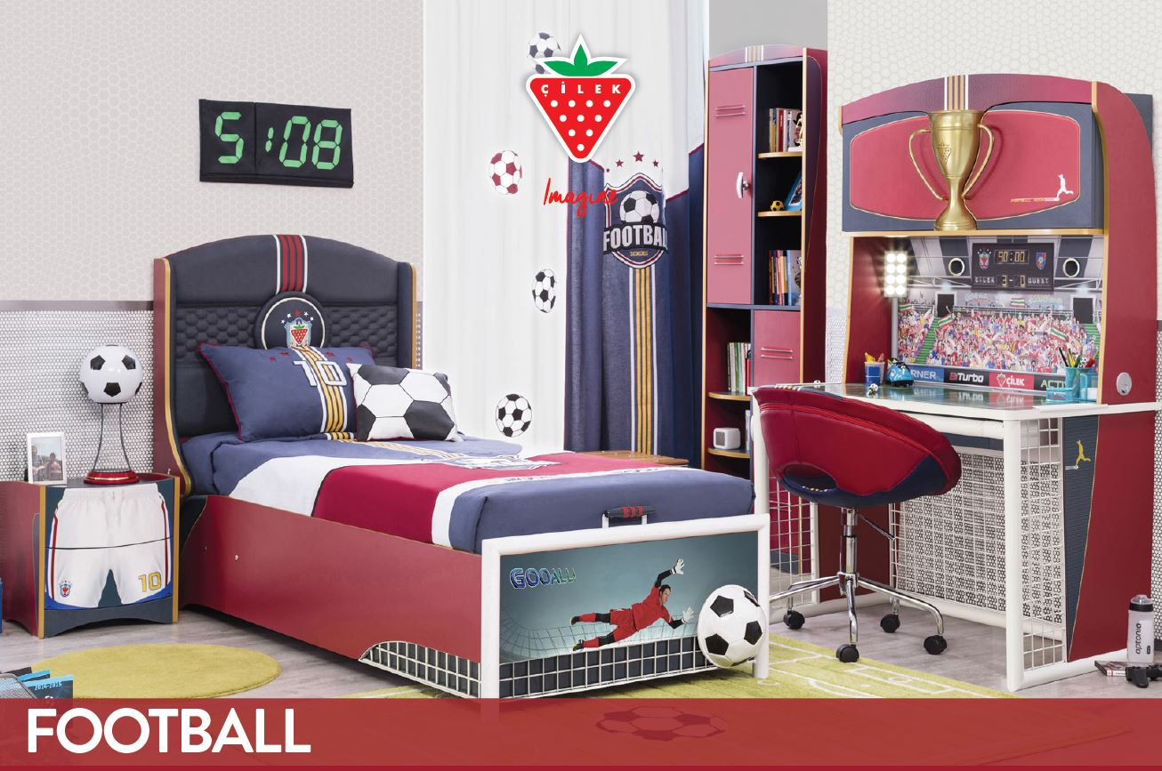 Cilek football bett kinderbett fu ballbett kinderzimmer for Jugendzimmer bett 90x190