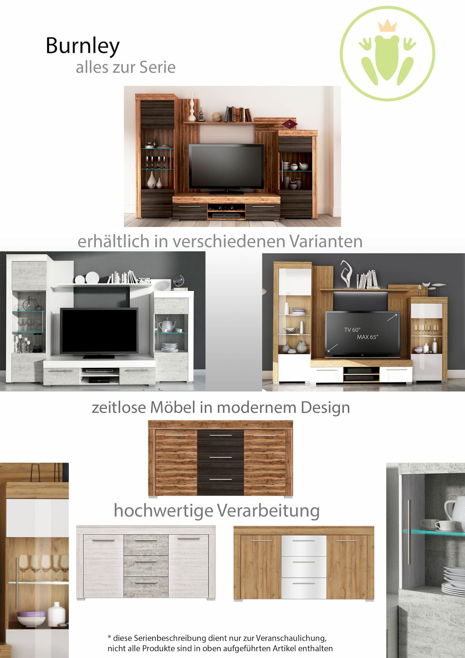 burnley 2 wohnwand betonoptik kiefer wei sch ner wohnen wohnw nde. Black Bedroom Furniture Sets. Home Design Ideas