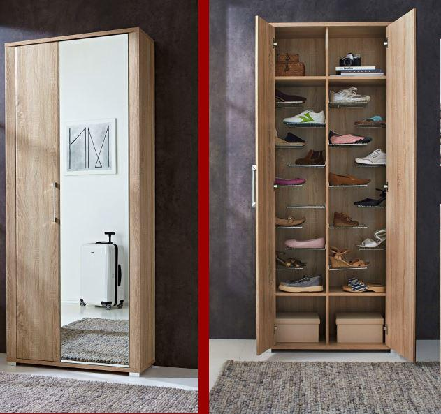 sonderpreis fine schuhschrank garderobenschrank garderobe eiche sonoma ebay. Black Bedroom Furniture Sets. Home Design Ideas
