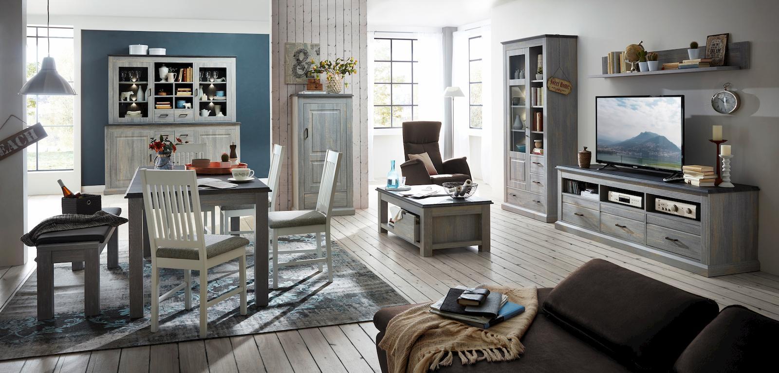 Wohnwand hamina 4 fertig montiert eiche kalkgrau for Funktionstisch wohnzimmer