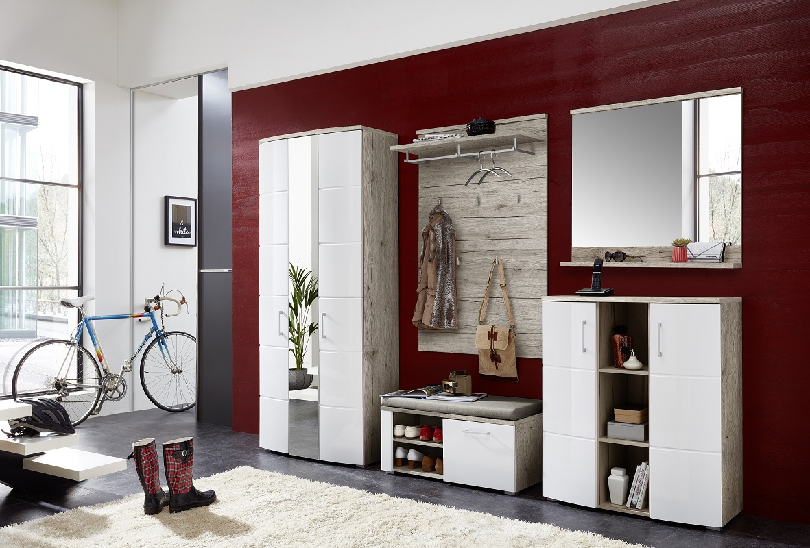 xandra schuhbank bank garderobe flur sitzbank ablage sandeiche wei ebay. Black Bedroom Furniture Sets. Home Design Ideas