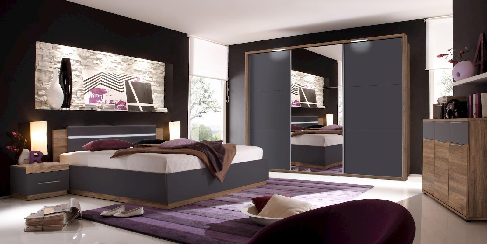 Dandy Schlafzimmer Set Komplettset Set Nussbaum/Schwarz Schlafen ...