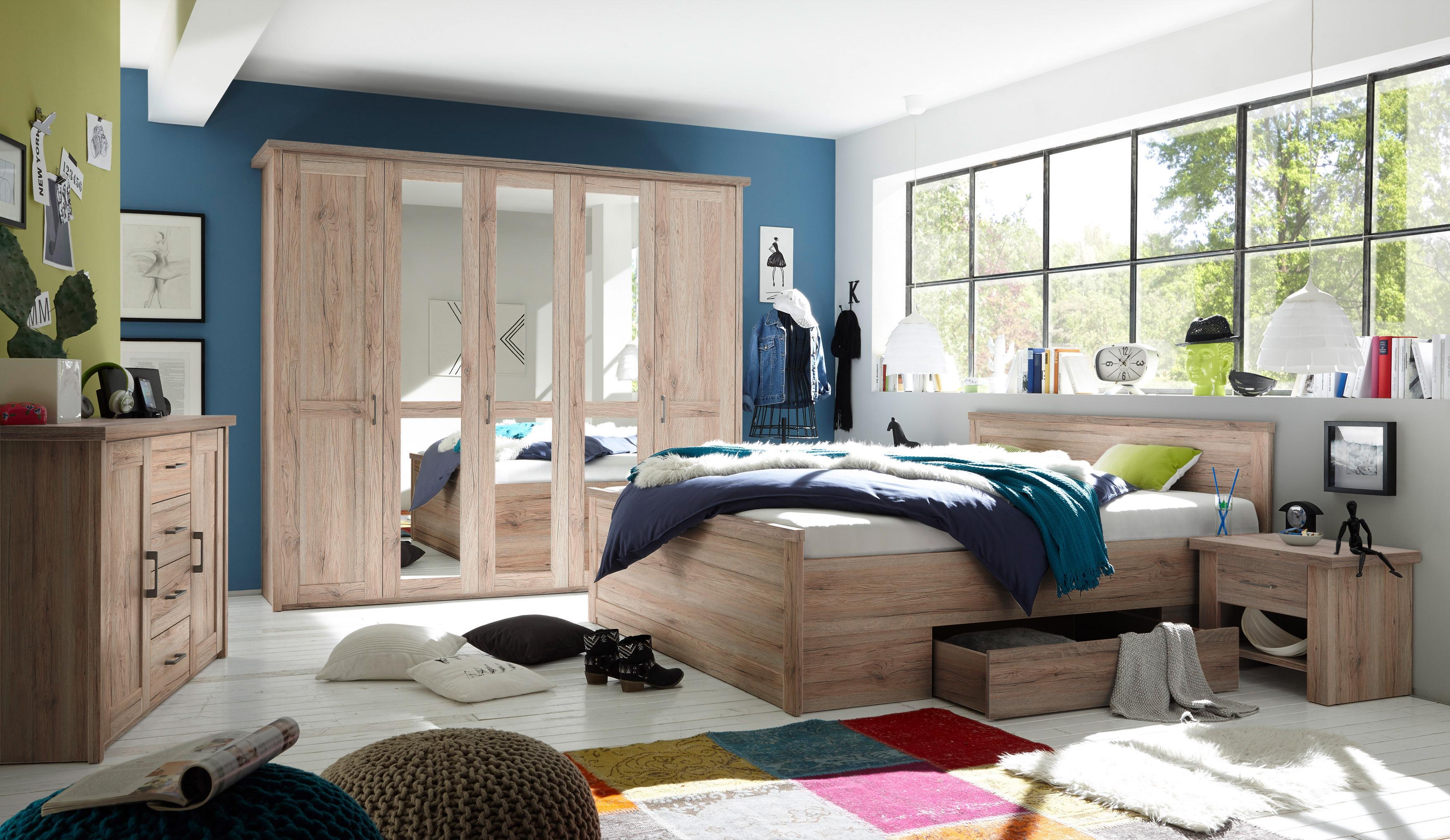 Luca 1 schlafzimmer komplettset bett kleiderschrank set pinie wei tr ffel schlafen - Schlafzimmer luca ...