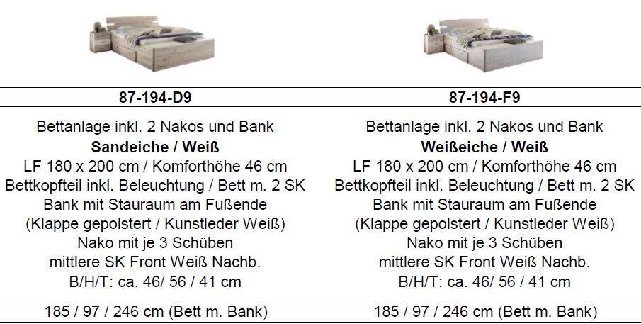 mars xl bettanlage 180x200cm bett wei beton schlafen. Black Bedroom Furniture Sets. Home Design Ideas