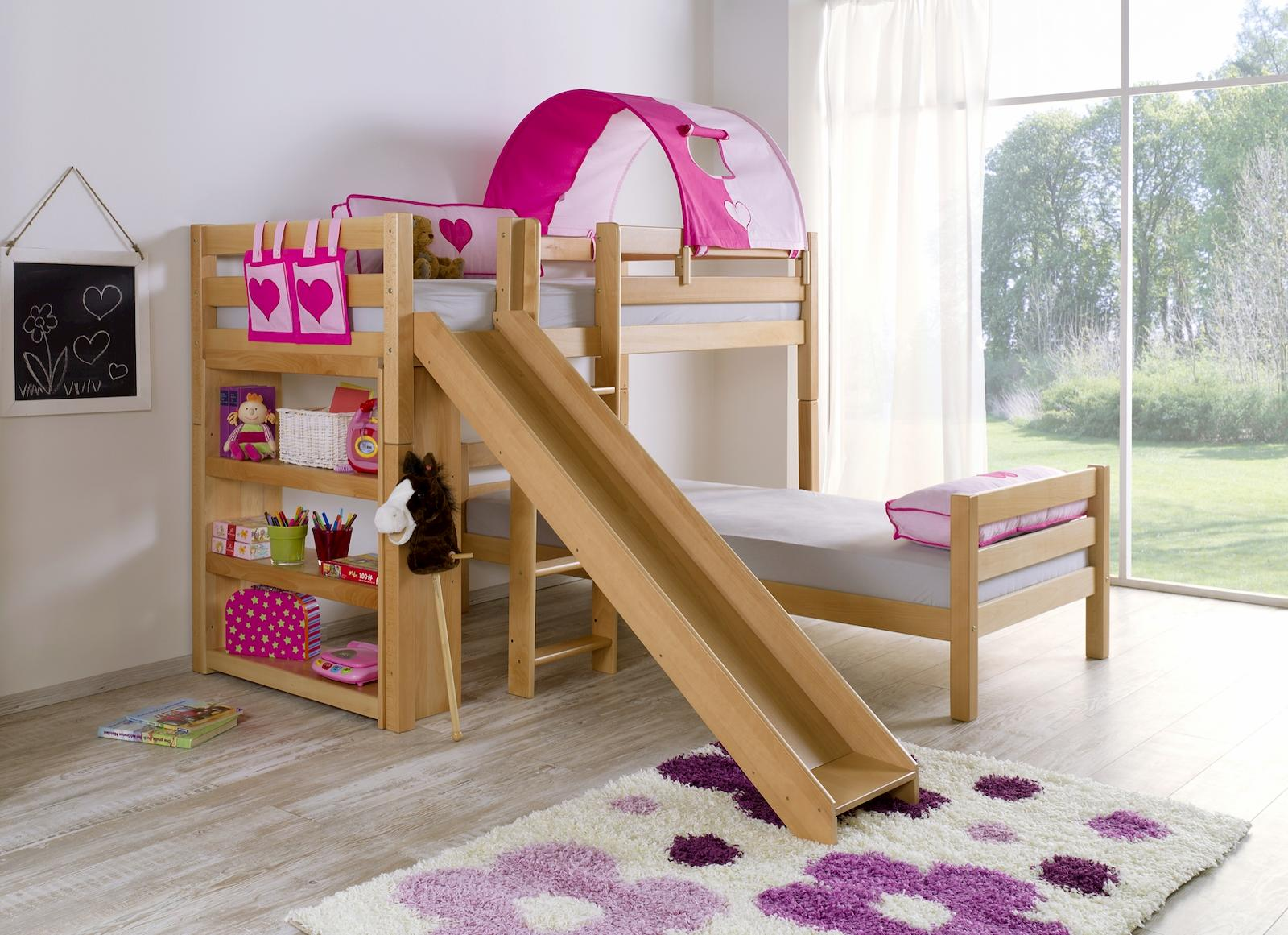 etagenbett mit rutsche beni l kinderbett spielbett bett natur stoff lila wei kids teens. Black Bedroom Furniture Sets. Home Design Ideas