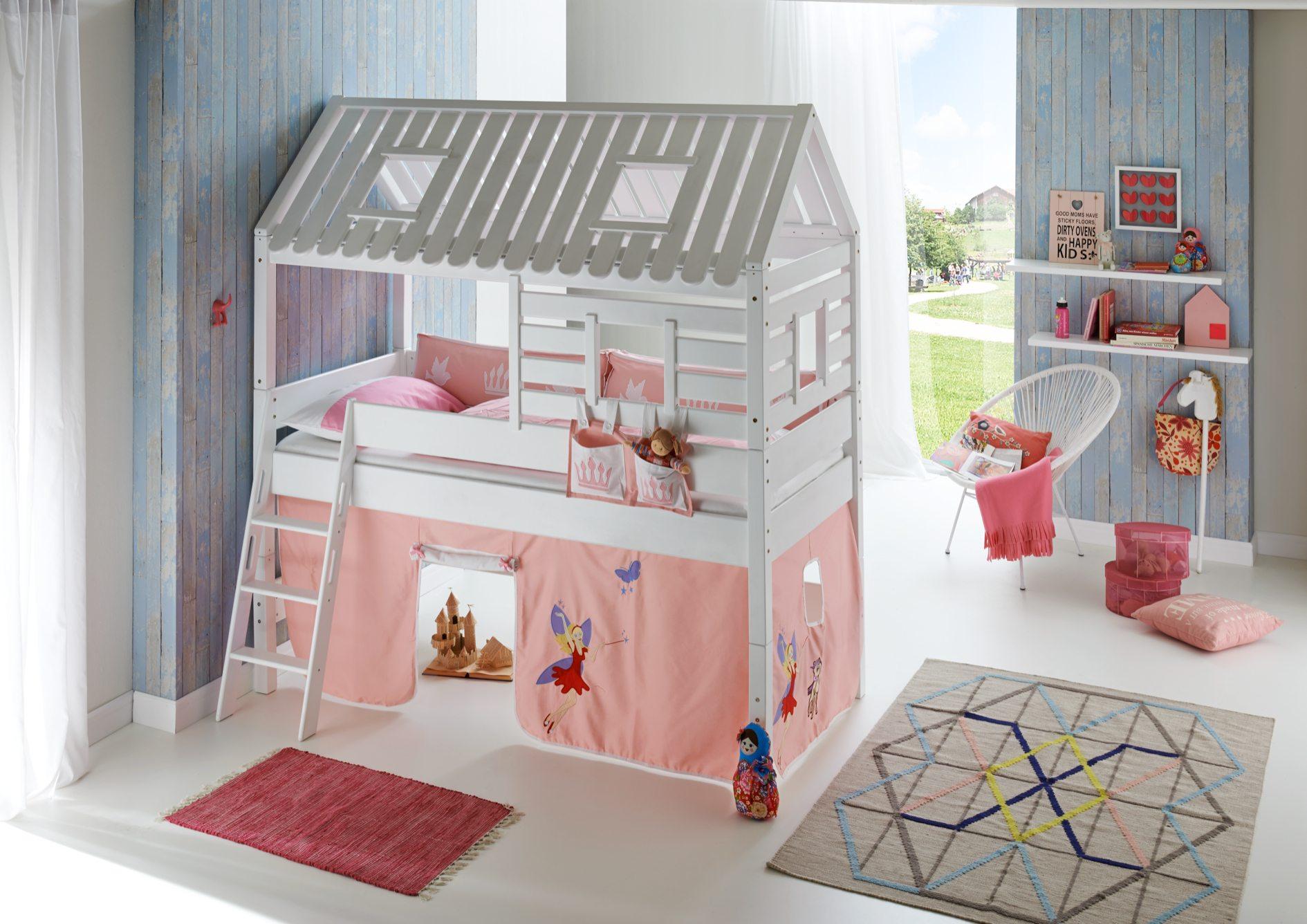 hochbett tom s h tte 2 kinderbett spielbett bett wei stoffset lila rosa kids teens betten. Black Bedroom Furniture Sets. Home Design Ideas