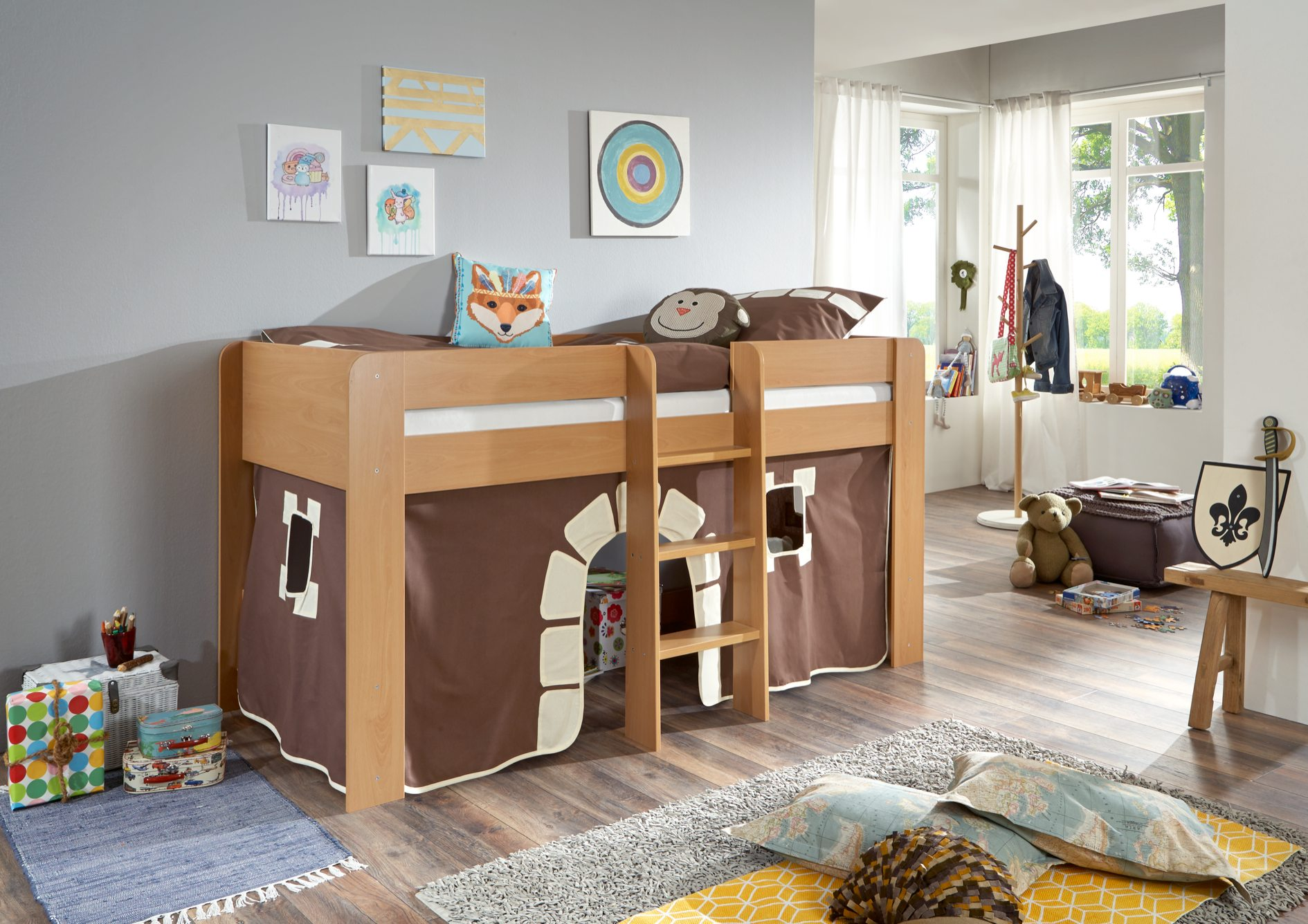 hochbett andi 2 kinderbett spielbett halbhohes bett buche stoffset lila wei kids teens betten. Black Bedroom Furniture Sets. Home Design Ideas