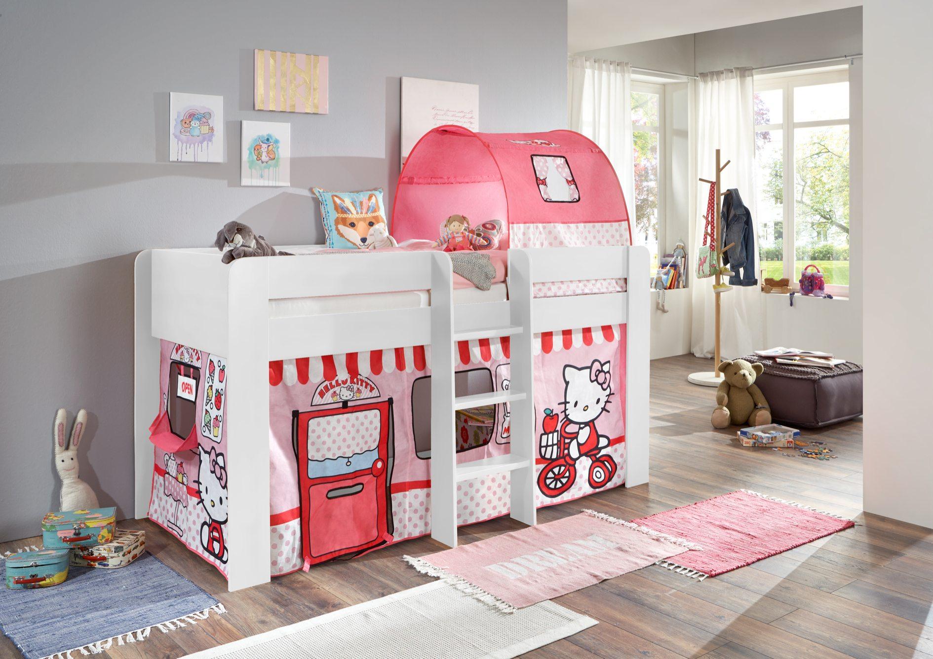 hochbett andi 1 kinderbett spielbett halbhohes bett wei kids teens betten hochbetten. Black Bedroom Furniture Sets. Home Design Ideas