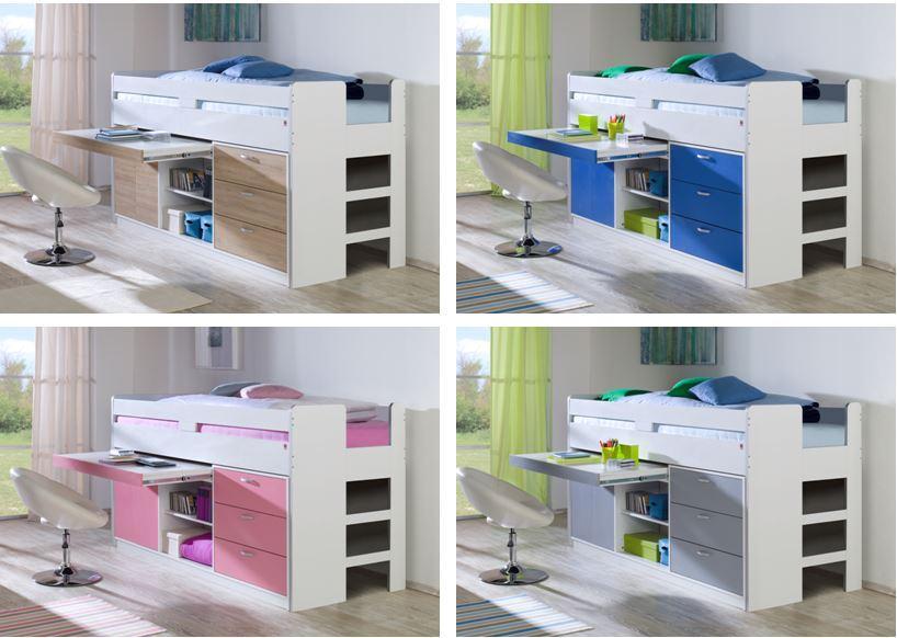 hochbett bonny kinderbett multifunktionsbett bett. Black Bedroom Furniture Sets. Home Design Ideas