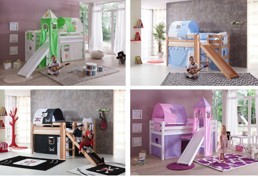 hochbett eliyas kinderbett mit rutsche spielbett bett wei stoffset pirat ebay. Black Bedroom Furniture Sets. Home Design Ideas