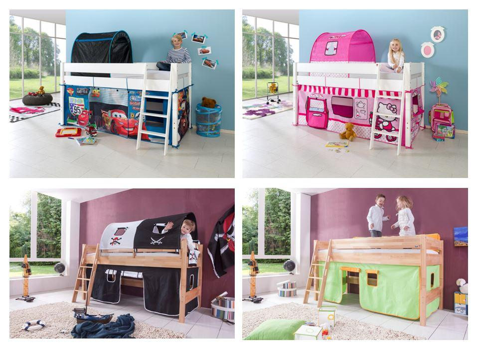 hochbett kim kinderbett spielbett bett inklusive stoffset. Black Bedroom Furniture Sets. Home Design Ideas
