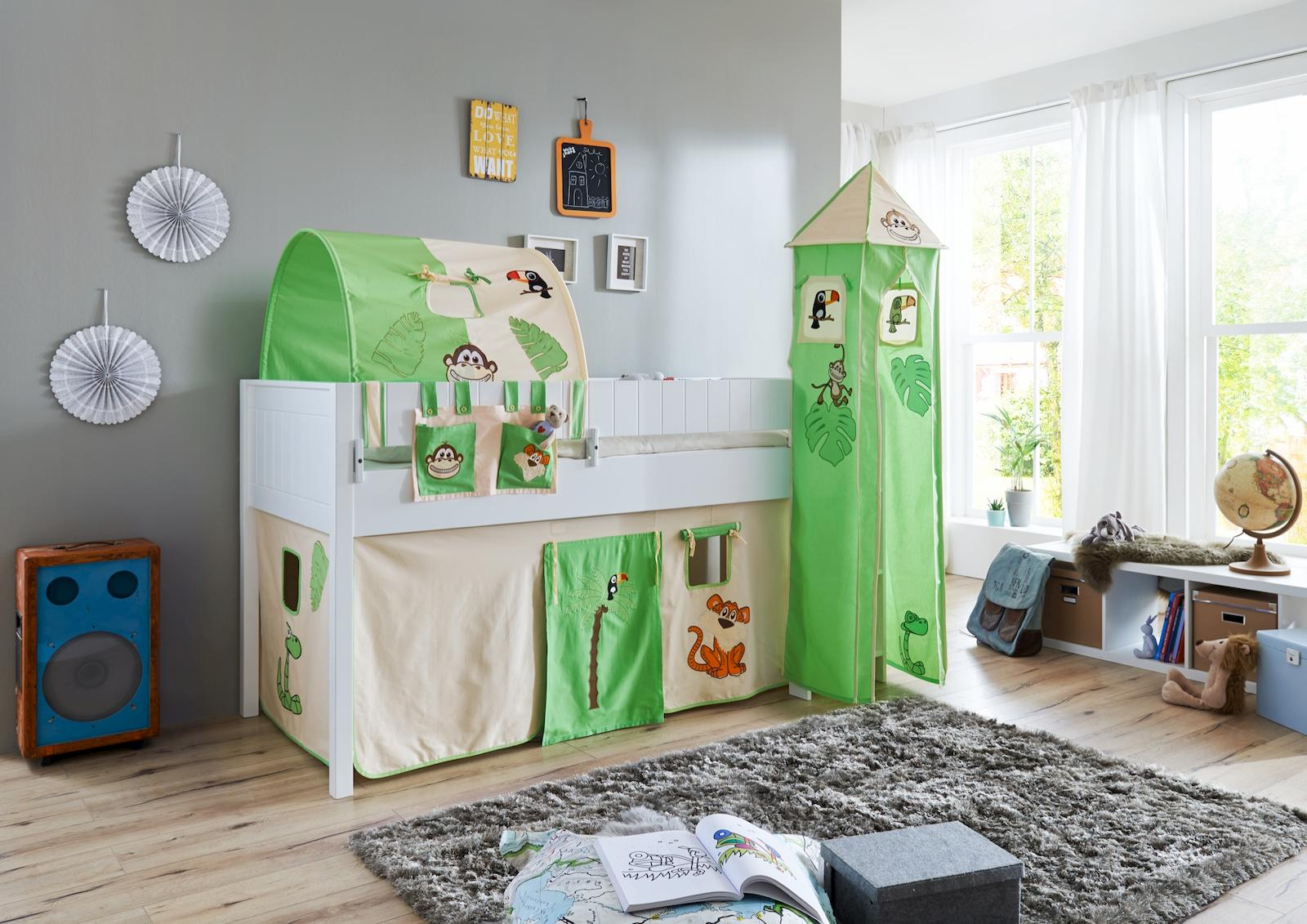 hochbett luka 3 kinderbett spielbett halbhohes bett wei stoffset cinderella kids teens betten. Black Bedroom Furniture Sets. Home Design Ideas