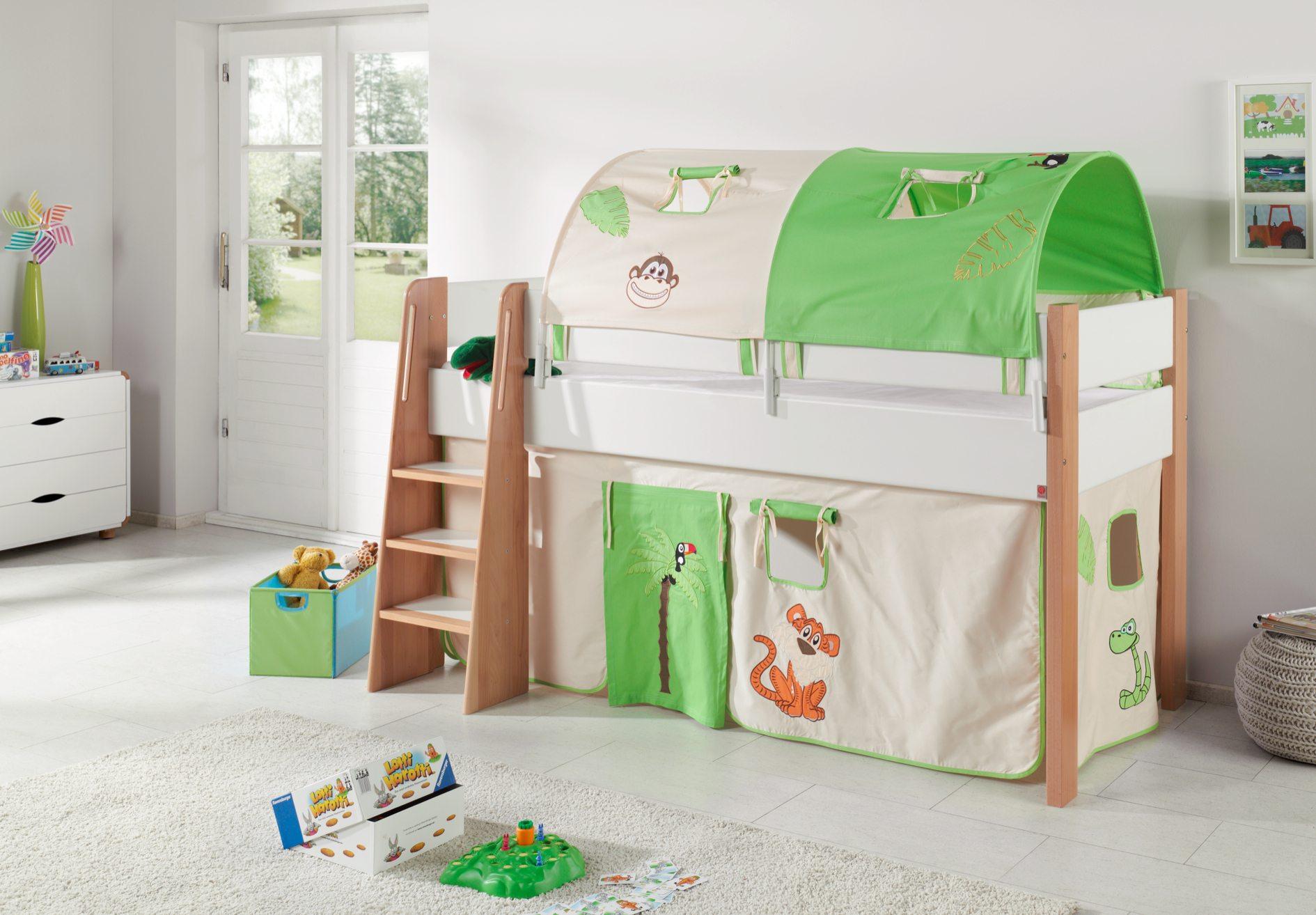 hochbett sam 3 kinderbett spielbett halbhohes bett buche wei stoff burg kids teens betten. Black Bedroom Furniture Sets. Home Design Ideas